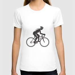 Road Cyclist Racing Woodcut T-shirt