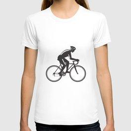 Road Cyclist Racing Woodcut T-shirt
