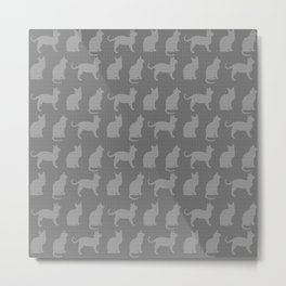 Abstract Cat Textured Impression in Greys Metal Print