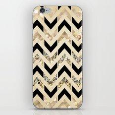 Black & Gold Glitter Herringbone Chevron on Nude Cream iPhone & iPod Skin