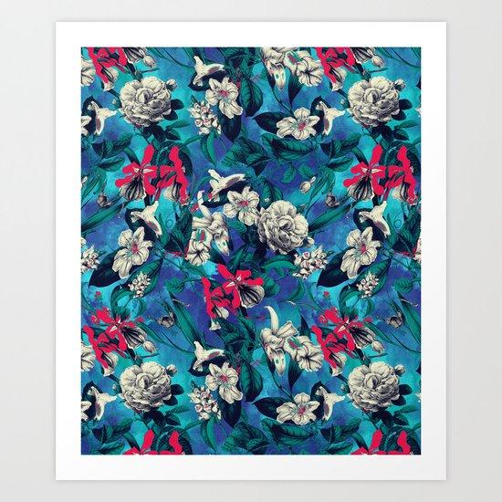 Botanical Garden on Blue Art Print