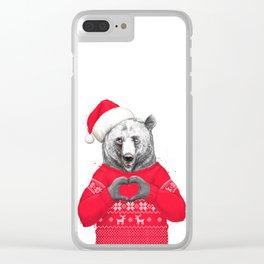 christmas bear Clear iPhone Case
