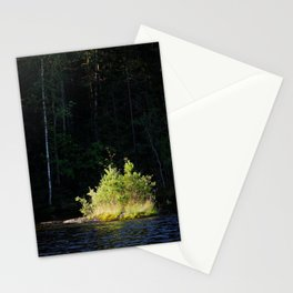 Small lush island in sunlight at lake shore Stationery Cards