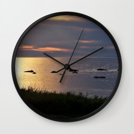 Golden Sparkling Waters Wall Clock