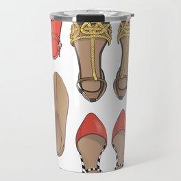 Hard choice // shoes on white background Travel Mug