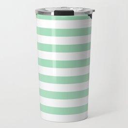Pastel Goth - Mint Stripes and Lips 2 Travel Mug