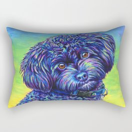 Opalescent Black Toy Poodle Rectangular Pillow