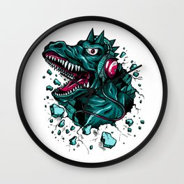 Dino with Headphones Green Cyprus Wall Clock