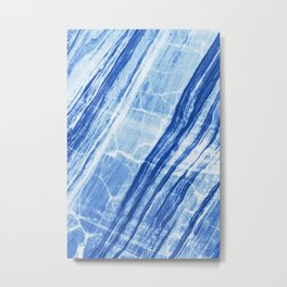 Abstract Marble - Denim Blue Metal Print