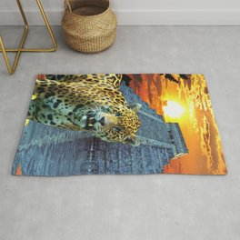 Chichen Itza Temple Guardian - South American Jaguar Rug