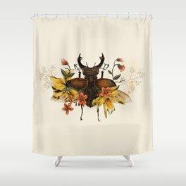 Blooming Beetle Shower Curtain
