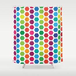 Rainbow Hexies Pattern Design Shower Curtain