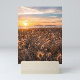 Golden light sunset summer hot sunset sicily island Mini Art Print