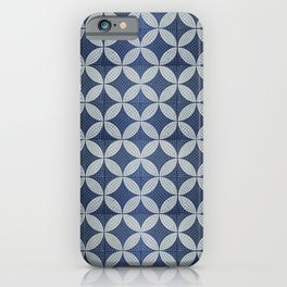 Mid-century blue tiles pattern - The atomic era  iPhone Case