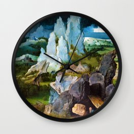 Joachim Patinir - Saint Jerome in a Rocky Landscape - Digital Remastered Edition Wall Clock