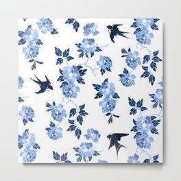 Oriental peonies in sapphire blue Metal Print