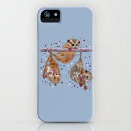 Possum trio on a branch - Blue Grey iPhone Case