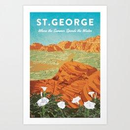 St George, Utah - Vintage Style Travel Poster Art Print