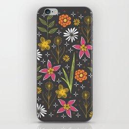 bright retro floral print iPhone Skin