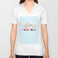 simpsons V-neck T-shirts featuring The Simpsons | Famous Cars by Fred Birchal