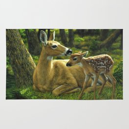 Whitetail Deer and Cute Spring Fawn Rug