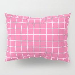 Cyclamen - pink color - White Lines Grid Pattern Pillow Sham