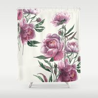 peony Shower Curtains featuring peony by Dao Linh