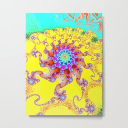 Tropical Octopus Fractal Metal Print