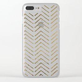 Elegant white faux gold chevron geometrical pattern Clear iPhone Case