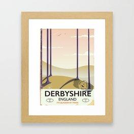 Derbyshire vintage rail poster Framed Art Print