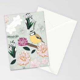 Joyful winter muted floral pattern with bird Stationery Cards