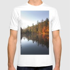 Mirrored Lake in Fall White MEDIUM Mens Fitted Tee