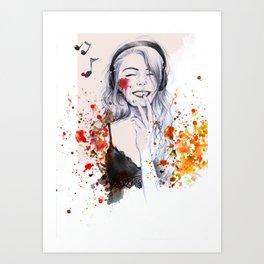 Music Makes Me Laugh Art Print