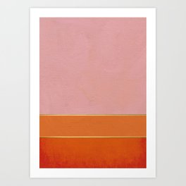 Orange, Pink And Gold Abstract Painting Art Print