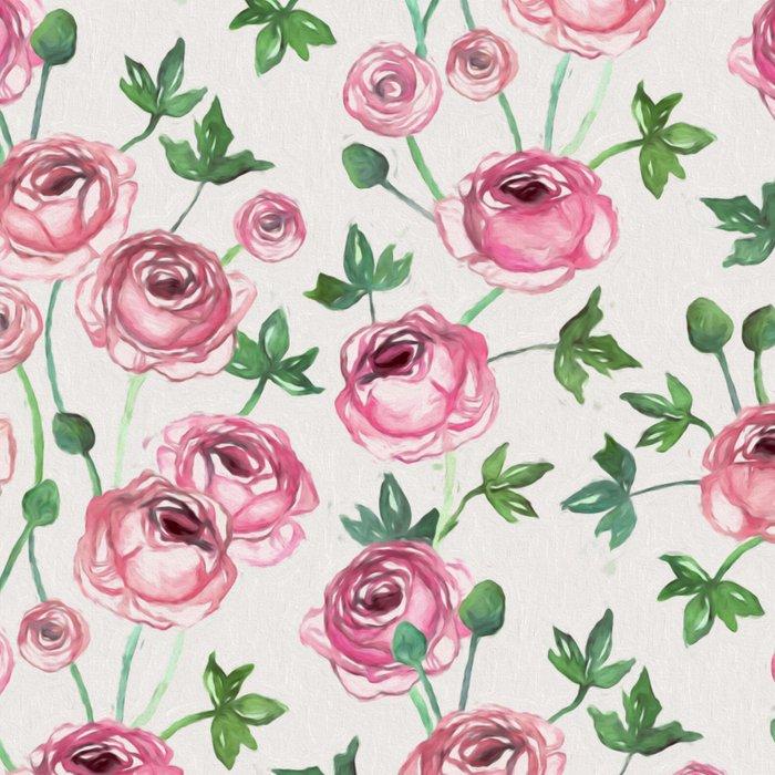 Painted Pink Ranunculus Pattern Leggings