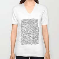 color V-neck T-shirts featuring A Lot of Cats by Kitten Rain