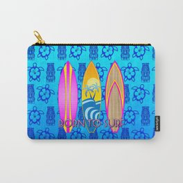 Pink Born To Surf Blue Tiki Mask Carry-All Pouch