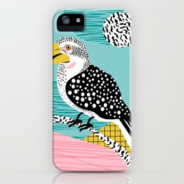 What - memphis tropical retro neon throwback 1980s 80s style hipster abstract bird vacation nature iPhone Case