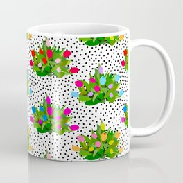 Tulip Bouquets in Black + White Dots Coffee Mug