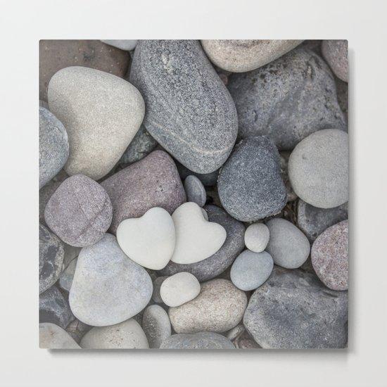 Heart Pebble Stone Mineral Love Symbol Metal Print