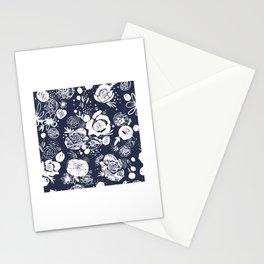 Summer Garden Indigo Floral Pattern Stationery Cards