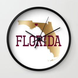 Florida Gold and Garnet with State Capital Typography Wall Clock
