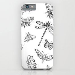 Butterflies Black & White_ Gouache drawing iPhone Case