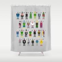 magneto Shower Curtains featuring Pixel Supervillain Alphabet by PixelPower