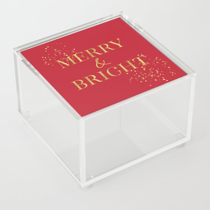 Merry and bright in red and gold Acrylic Box