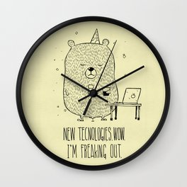 Unemotional Bear vs. Tech Wall Clock