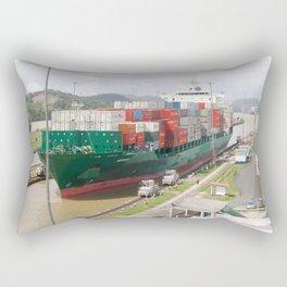 A cargo ship crossing the Miraflores locks at the Panama Canal Rectangular Pillow