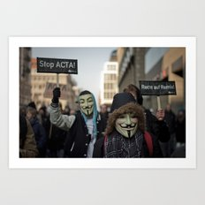ACTA Protest Berlin - Guy Fawkes Art Print