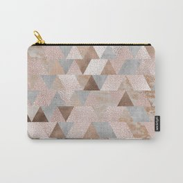 Copper and Blush Rose Gold Marble Triangles Carry-All Pouch
