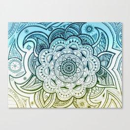 Mandala Blue Yellow Canvas Print